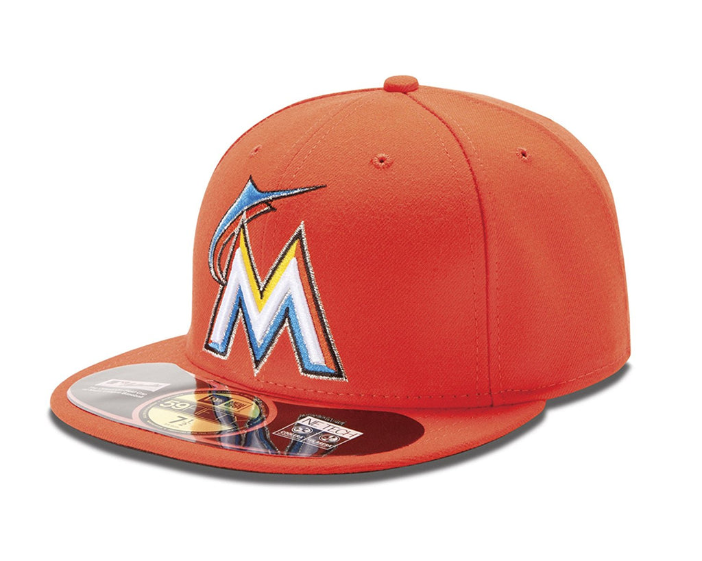 New Era MLB Men's Miami Marlins Authentic Collection On Field 59FIFTY Fitted Hat Road