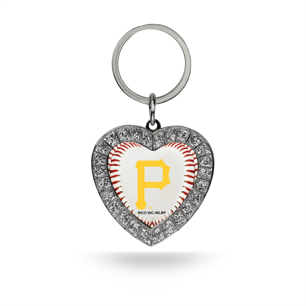 Rico MLB Pittsburgh Pirates Rhinestone Heart Key Chain