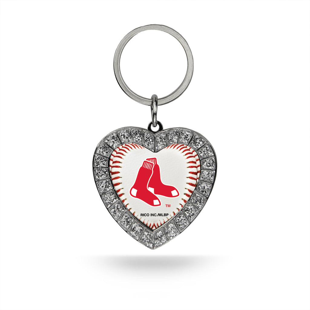 Rico MLB Boston Red Sox Rhinestone Heart Key Chain