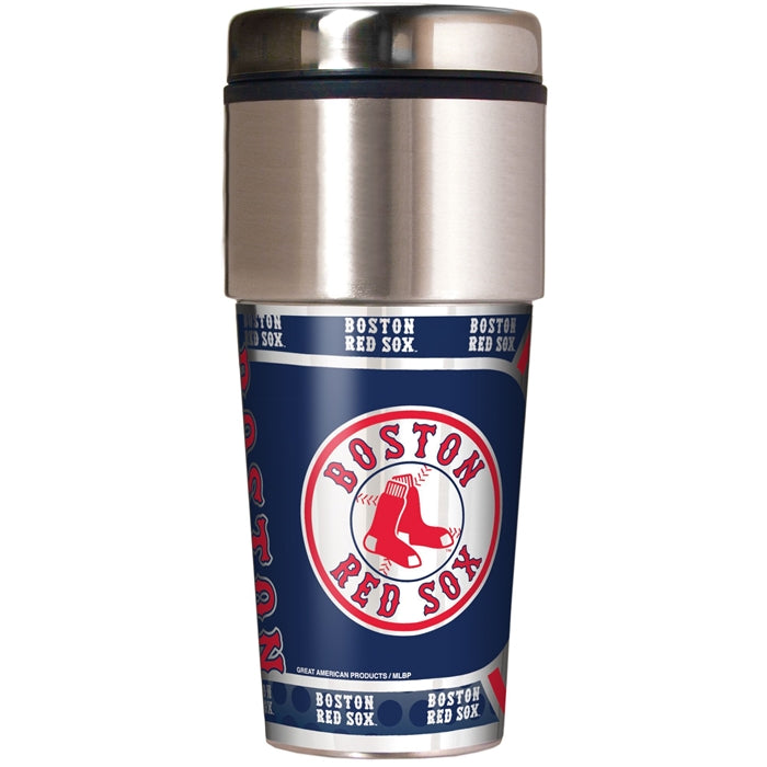 Great American Products MLB Boston Red Sox Stainless Steel Travel Tumbler with Metallic Graphics 16 oz