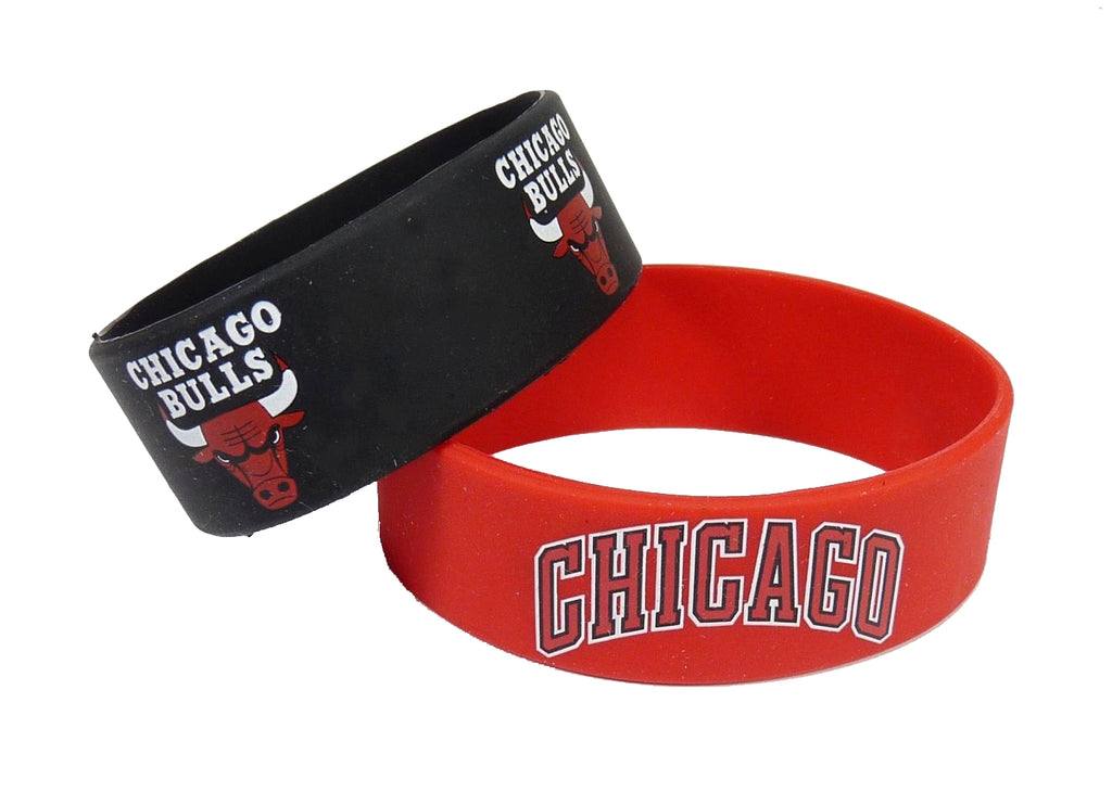 Aminco NBA Chicago Bulls 2 Pack Wide Silicone Bracelets