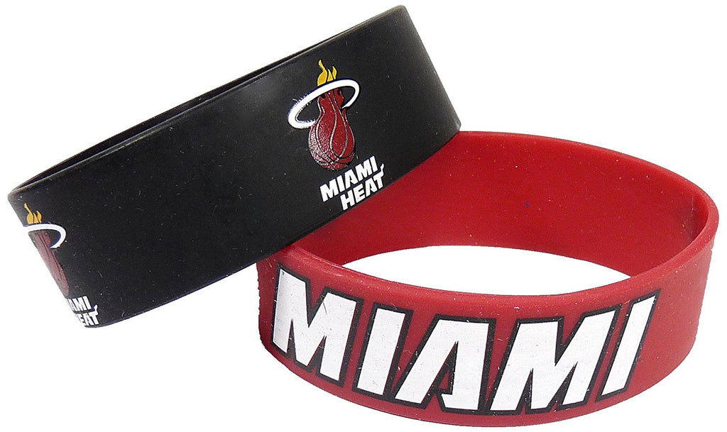 Aminco NBA Miami Heat 2 Pack Wide Silicone Bracelets