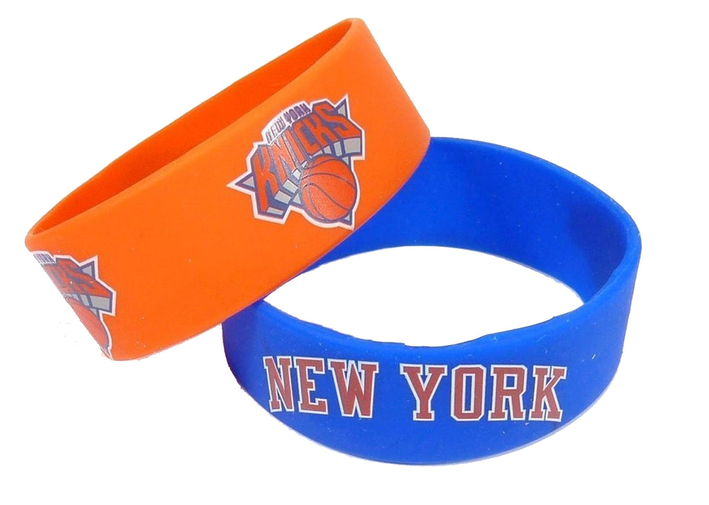 Aminco NBA New York Knicks 2 Pack Wide Silicone Bracelets