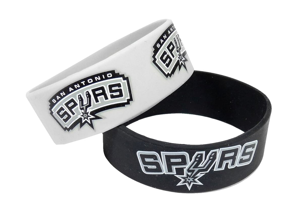 Aminco NBA San Antonio Spurs 2 Pack Wide Silicone Bracelets