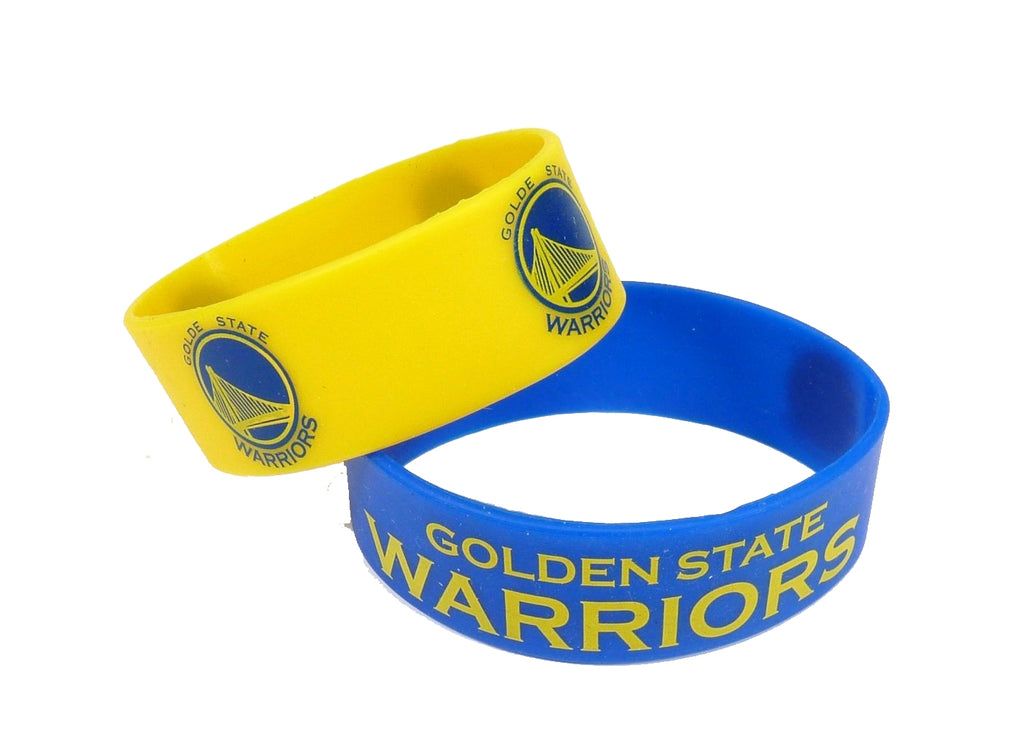 Aminco NBA Golden State Warriors 2 Pack Wide Silicone Bracelets