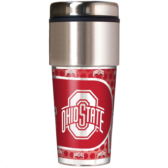 Great American Products NCAA Ohio State Buckeyes Stainless Steel Travel Tumbler with Metallic Graphics 16 oz