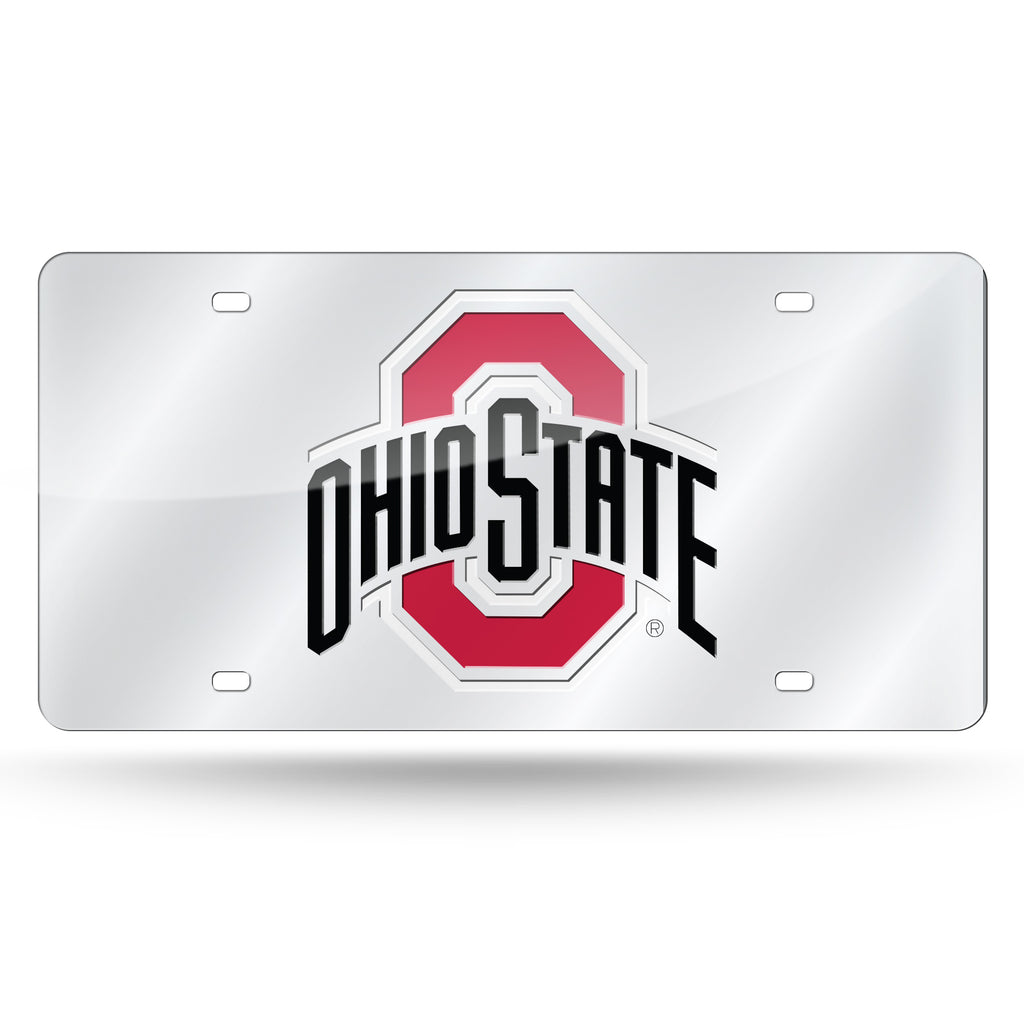Rico NCAA Ohio State Buckeyes Laser Cut Mirror Auto Tag Car License Plate LZS