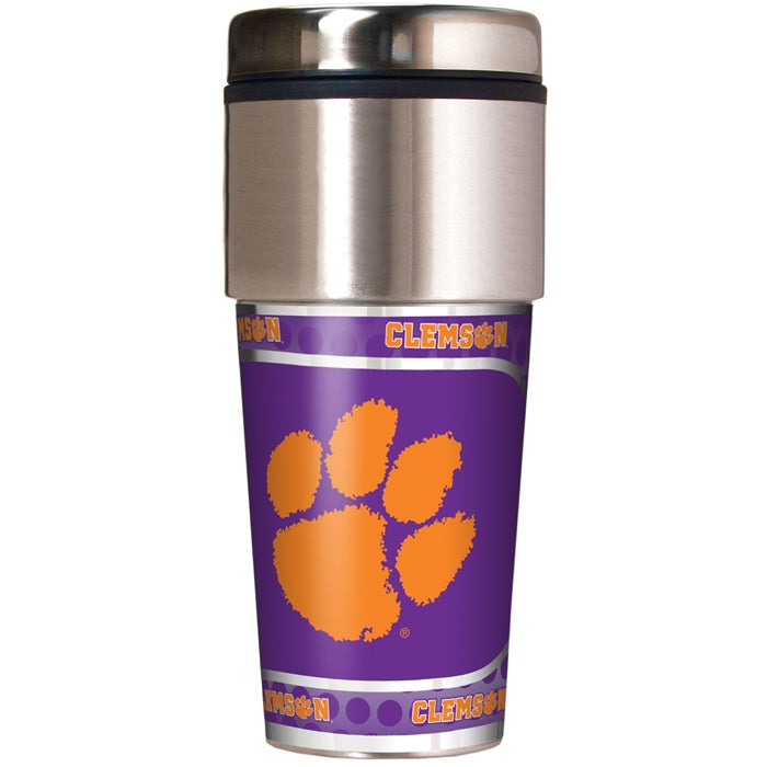 Great American Products NCAA Clemson Tigers Stainless Steel Travel Tumbler with Metallic Graphics 16 oz