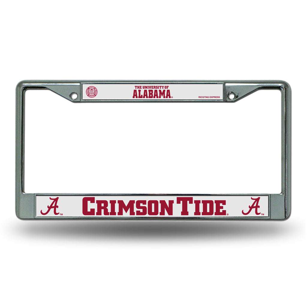 Rico NCAA Alabama Crimson Tide Auto Tag Chrome Frame FC
