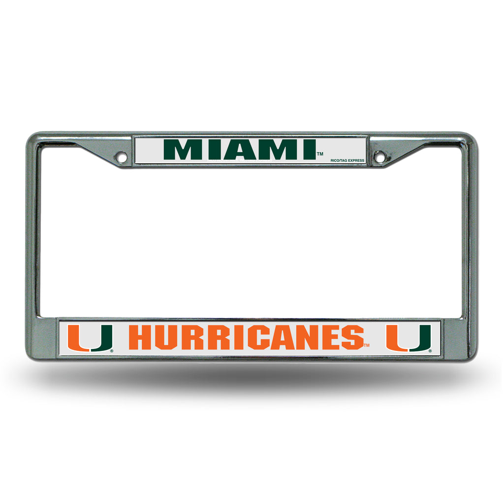 Rico NCAA Miami Hurricanes Auto Tag Chrome Frame FC