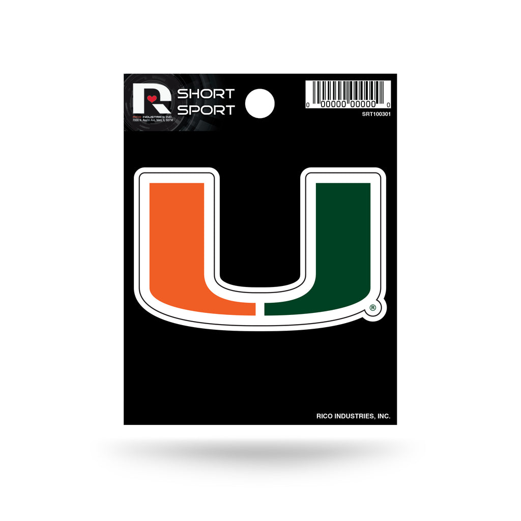 Rico NCAA Miami Hurricanes Die Cut Auto Decal Car Sticker Small SRT