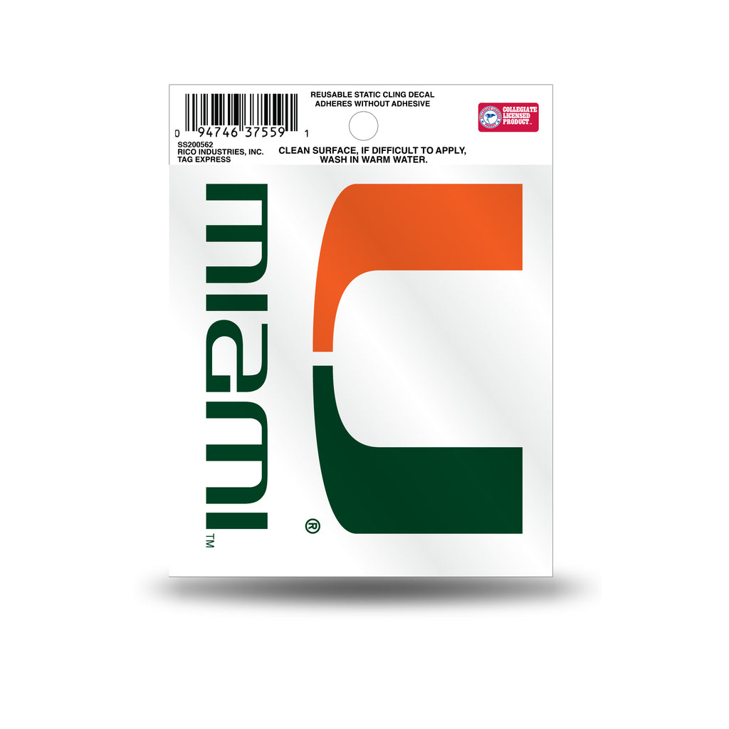 Rico NCAA Miami Hurricanes Logo Static Cling Auto Decal Car Sticker Small SS