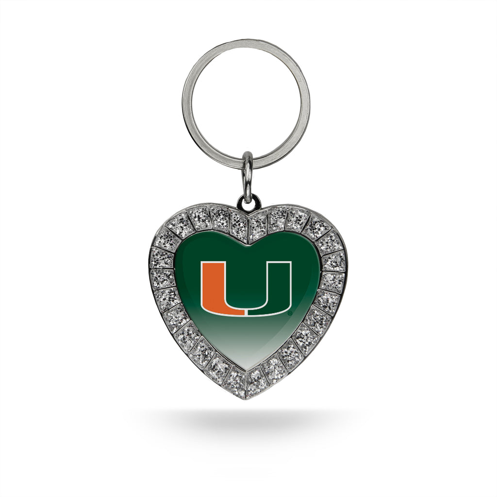 Rico NCAA Miami Hurricanes Rhinestone Heart Key Chain