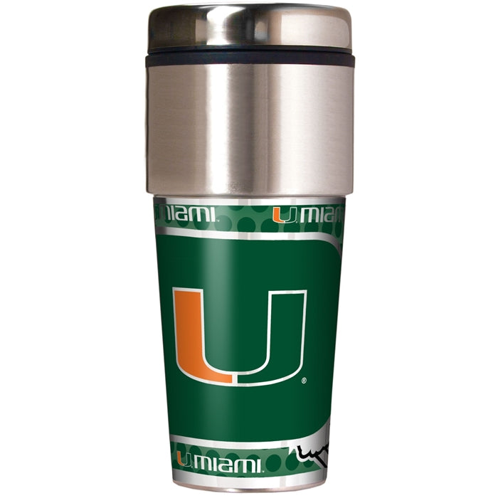Great American Products NCAA Miami Hurricanes Stainless Steel Travel Tumbler with Metallic Graphics 16 oz