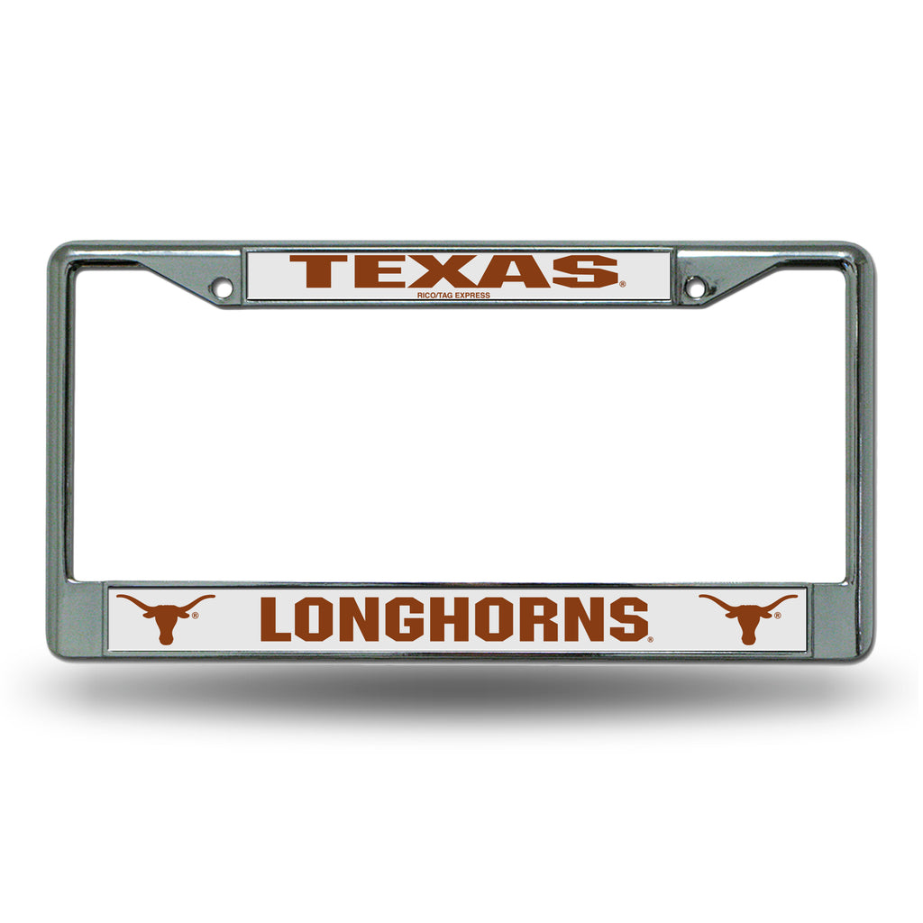 Rico NCAA Texas Longhorns Auto Tag Chrome Frame FC