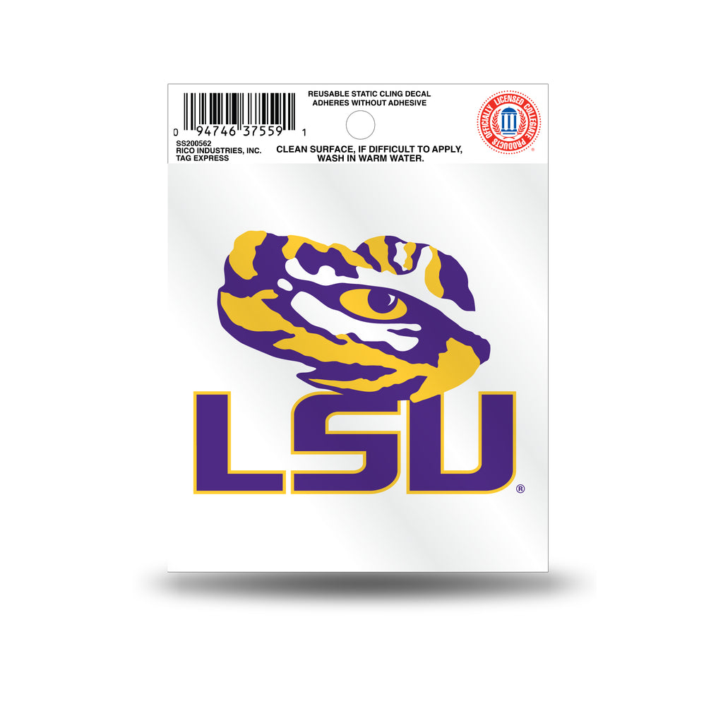 Rico NCAA LSU Tigers Logo Static Cling Auto Decal Car Sticker Small SS