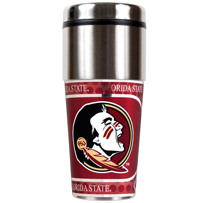 Great American Products NCAA Florida State Seminoles FSU Stainless Steel Travel Tumbler with Metallic Graphics 16 oz