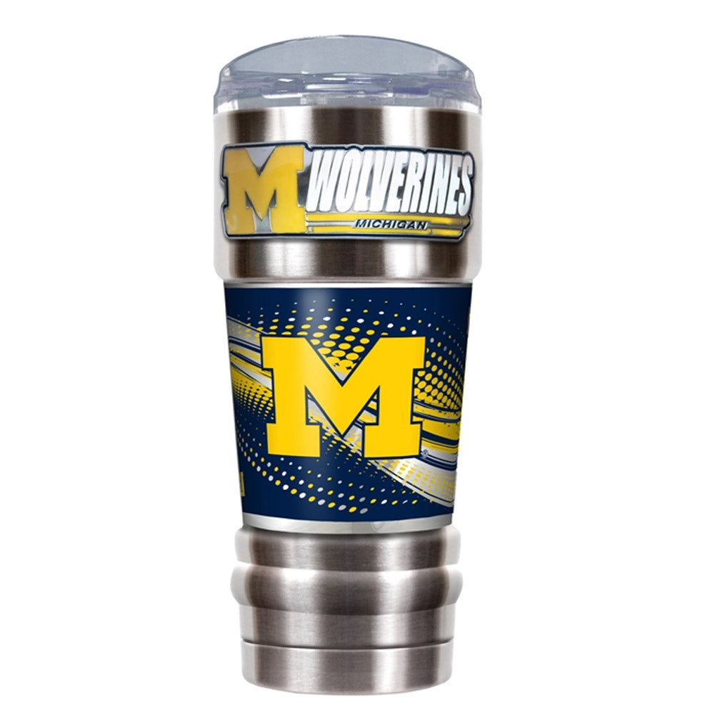 Great American Products NCAA Michigan Wolverines PRO Tumbler with Emblem Silver 32 oz