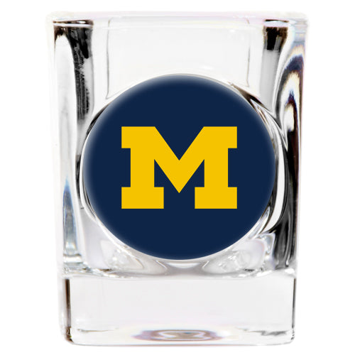 Great American Products NCAA Michigan Wolverines Indent Square Shot Glass Clear 2 oz