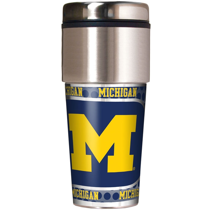 Great American Products NCAA Michigan Wolverines Stainless Steel Travel Tumbler with Metallic Graphics 16 oz