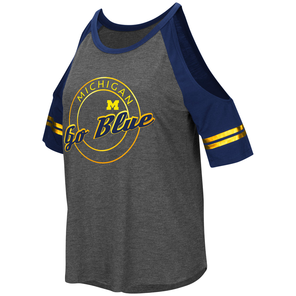 Colosseum NCAA Women's Michigan Wolverines Mae Cold Shoulder T-Shirt