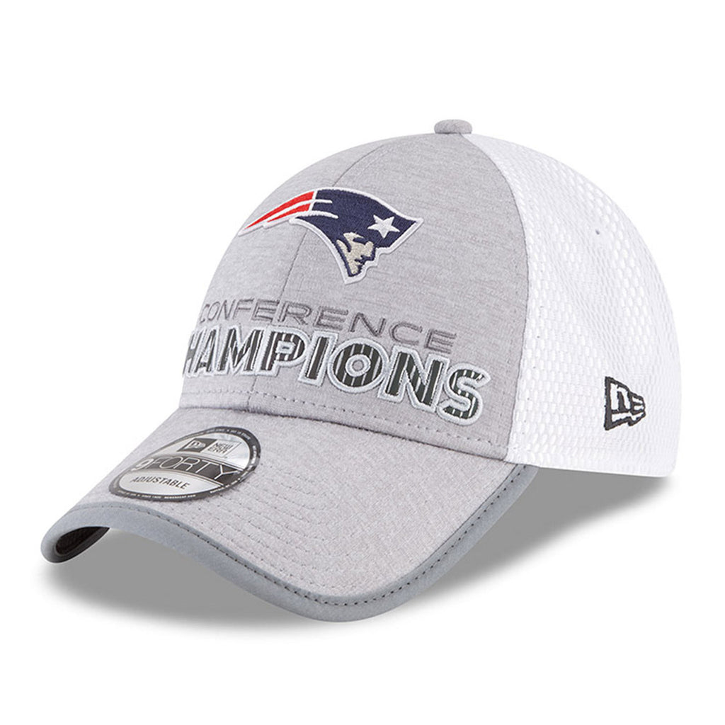New Era Men's New England Patriots 2017 AFC Conference Champions Hat Adjustable Grey/White