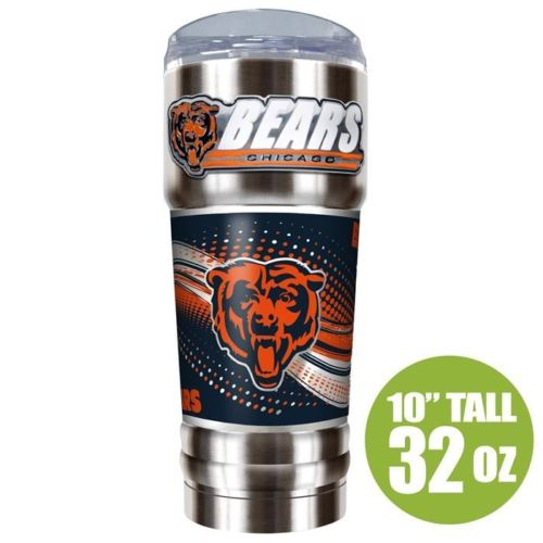 Great American Products NFL Chicago Bears PRO Tumbler with Emblem Silver 32 oz
