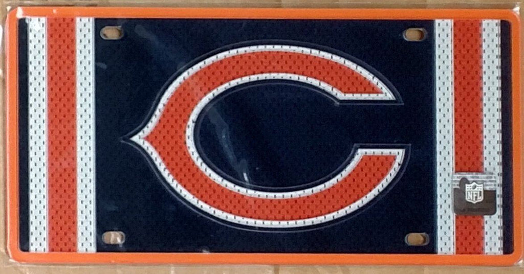 Stockdale NFL Chicago Bears Mesh Jersey Deluxe Laser Cut Auto License Plate Tag