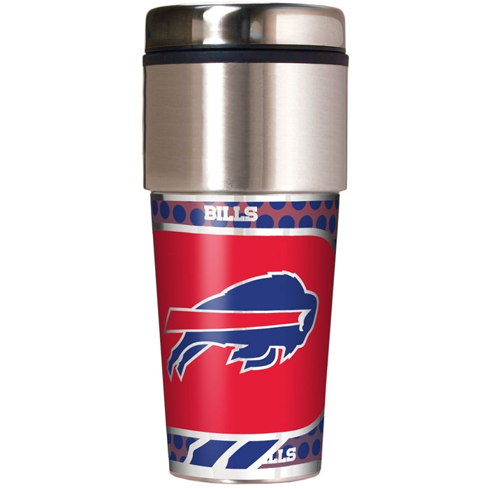 Great American Products NFL Buffalo Bills Stainless Steel Travel Tumbler with Metallic Graphics 16 oz