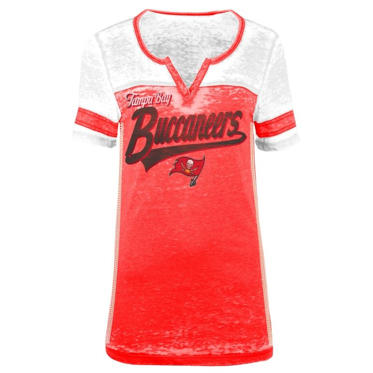 5th & Ocean NFL Women's Tampa Bay Buccaneers Burnout V-Neck T-Shirt