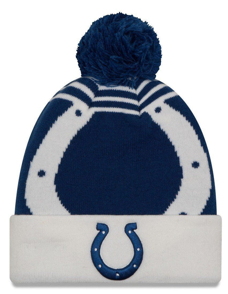 New Era NFL Men's Indianapolis Colts Logo Whiz 2 Cuffed Knit Beanie with Pom