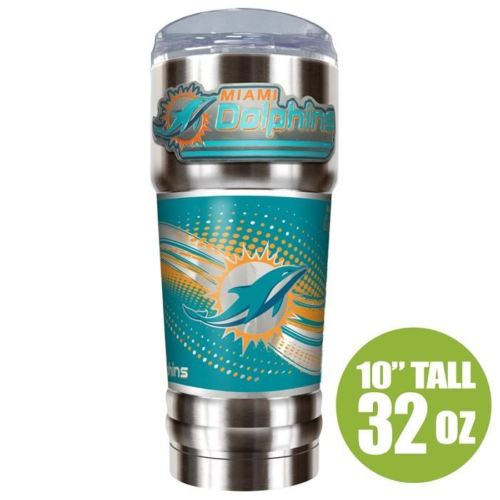 Great American Products NFL Miami Dolphins PRO Tumbler with Emblem Silver 32 oz