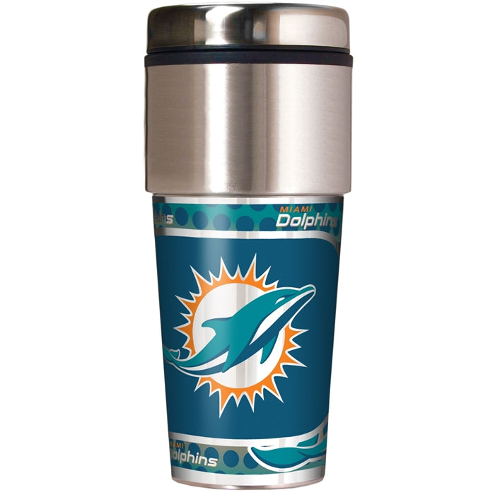 Great American Products NFL Miami Dolphins Stainless Steel Travel Tumbler with Metallic Graphics 16 oz