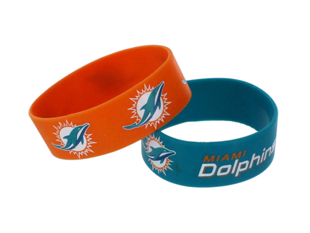 Aminco NFL Miami Dolphins 2 Pack Wide Silicone Bracelets