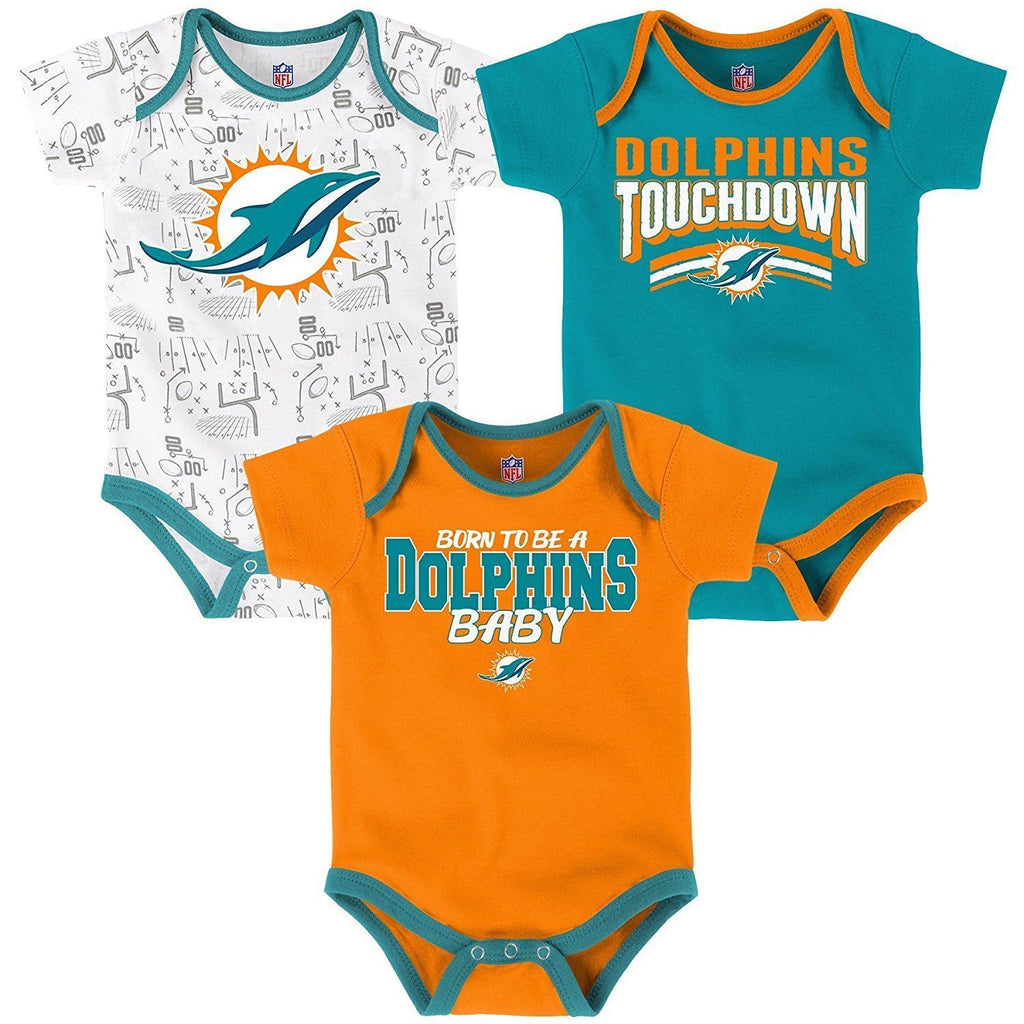 2eee8a6af Outerstuff NFL Miami Dolphins Infant Playmaker 3-Piece Creeper Set ...