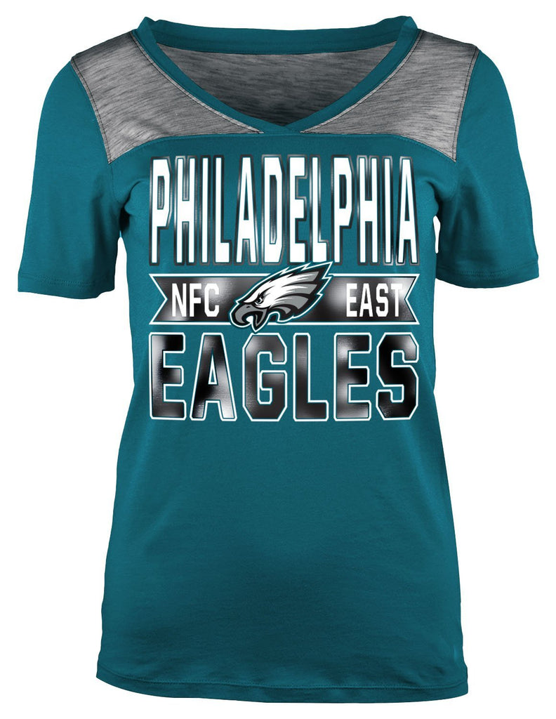 5th & Ocean NFL Women's Philadelphia Eagles Athletic Foil V-Neck