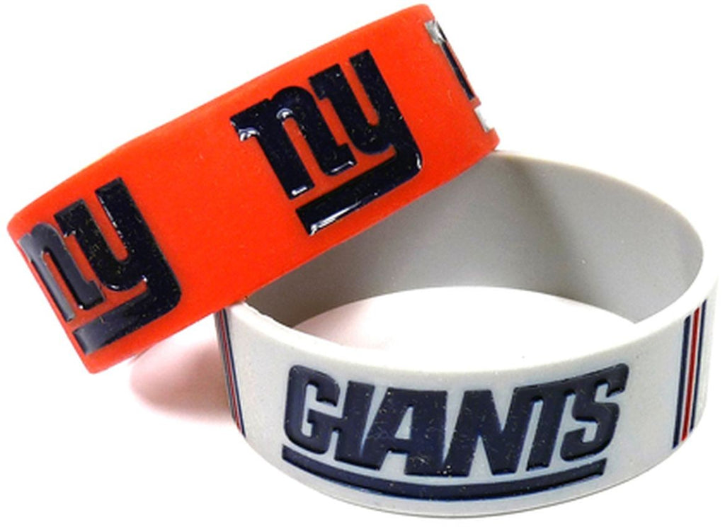 Aminco NFL New York Giants 2 Pack Wide Silicone Bracelets