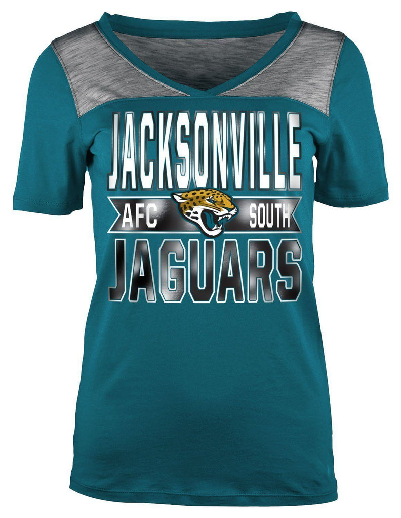 5th & Ocean NFL Women's Jacksonville Jaguars Athletic Foil V-Neck