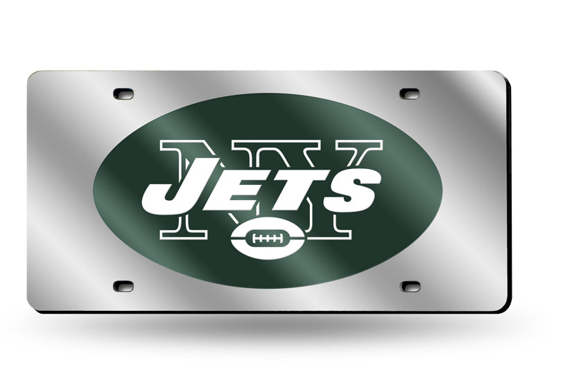 Rico NFL New York Jets Laser Cut Mirror Auto Tag Car License Plate LZS