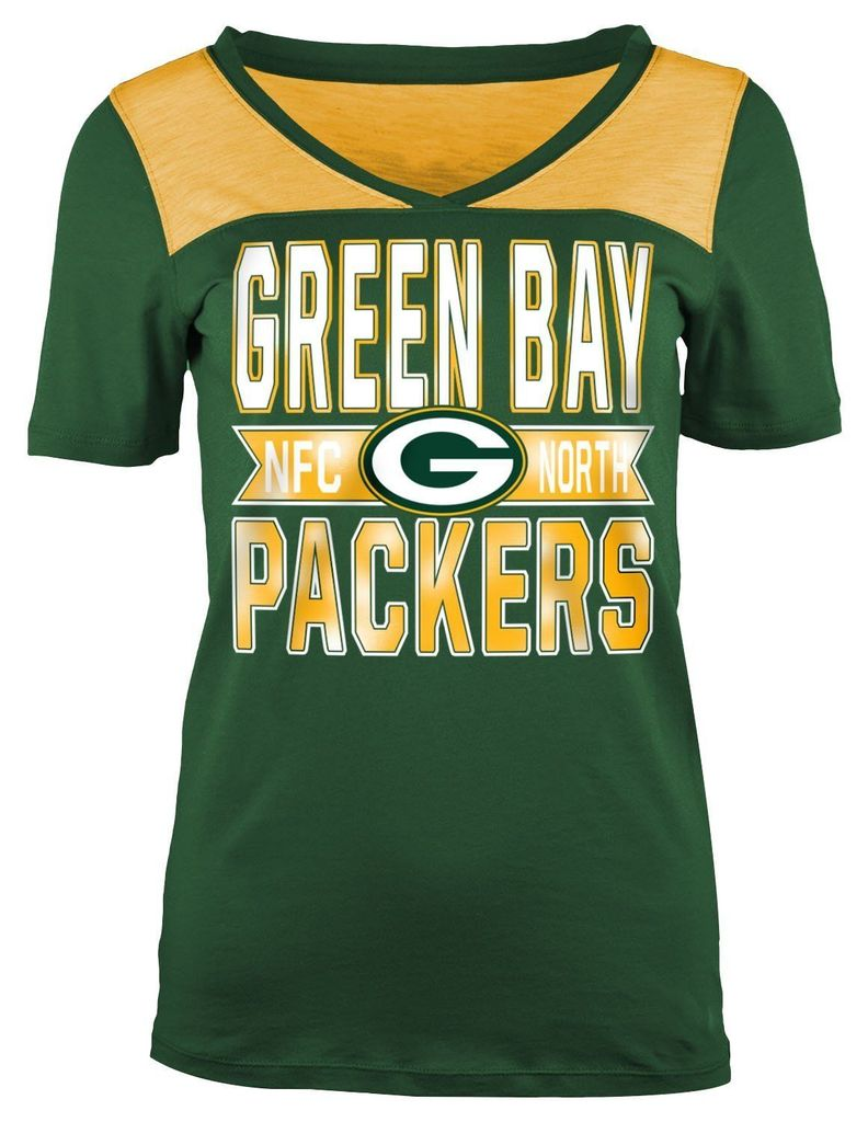 5th & Ocean NFL Women's Green Bay Packers Athletic Foil V-Neck