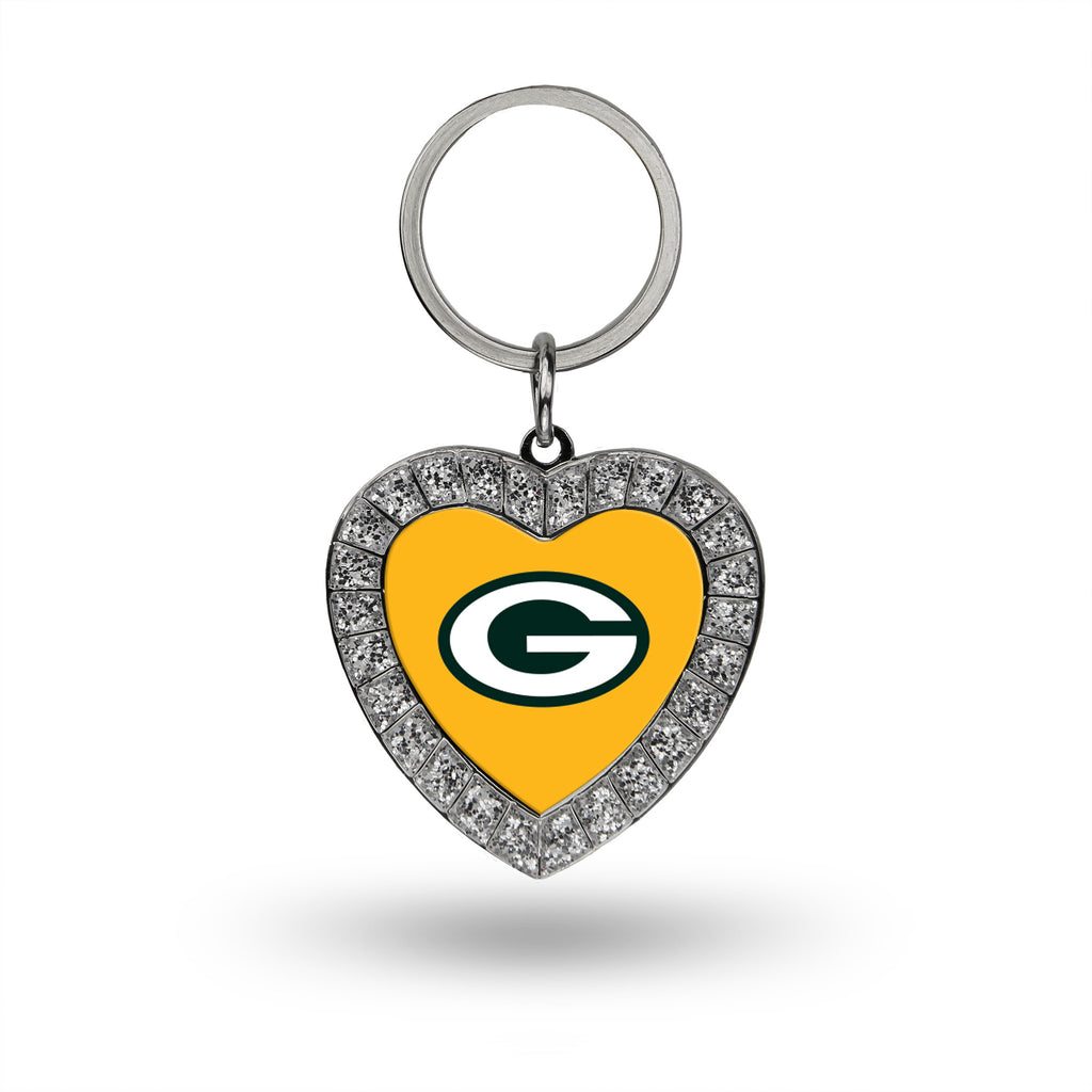 Rico NFL Green Bay Packers Rhinestone Heart Key Chain