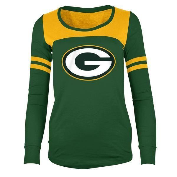 5th & Ocean NFL Women's Green Bay Packers Hang Time Glitter Long Sleeve T-Shirt