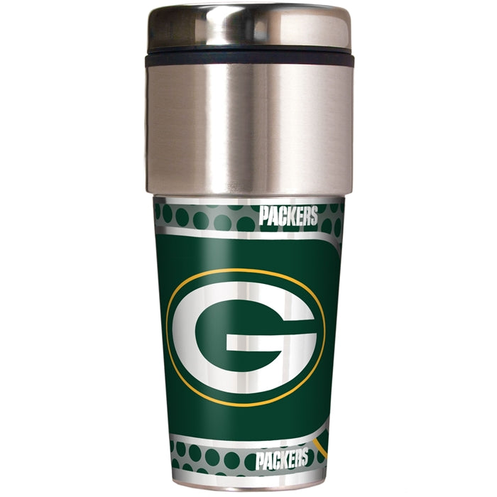 Great American Products NFL Green Bay Packers Stainless Steel Travel Tumbler with Metallic Graphics 16 oz