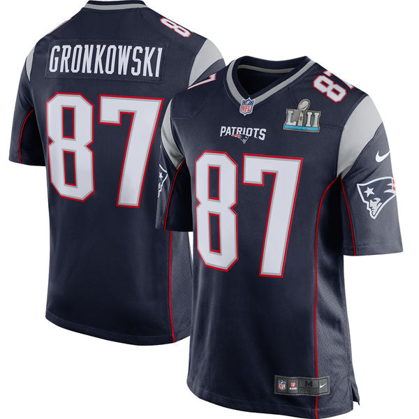 Nike NFL Men's #87 Ron Gronkowski New England Patriots 2017 Super Bowl 52 SBLII Patch Replica Home Game Jersey