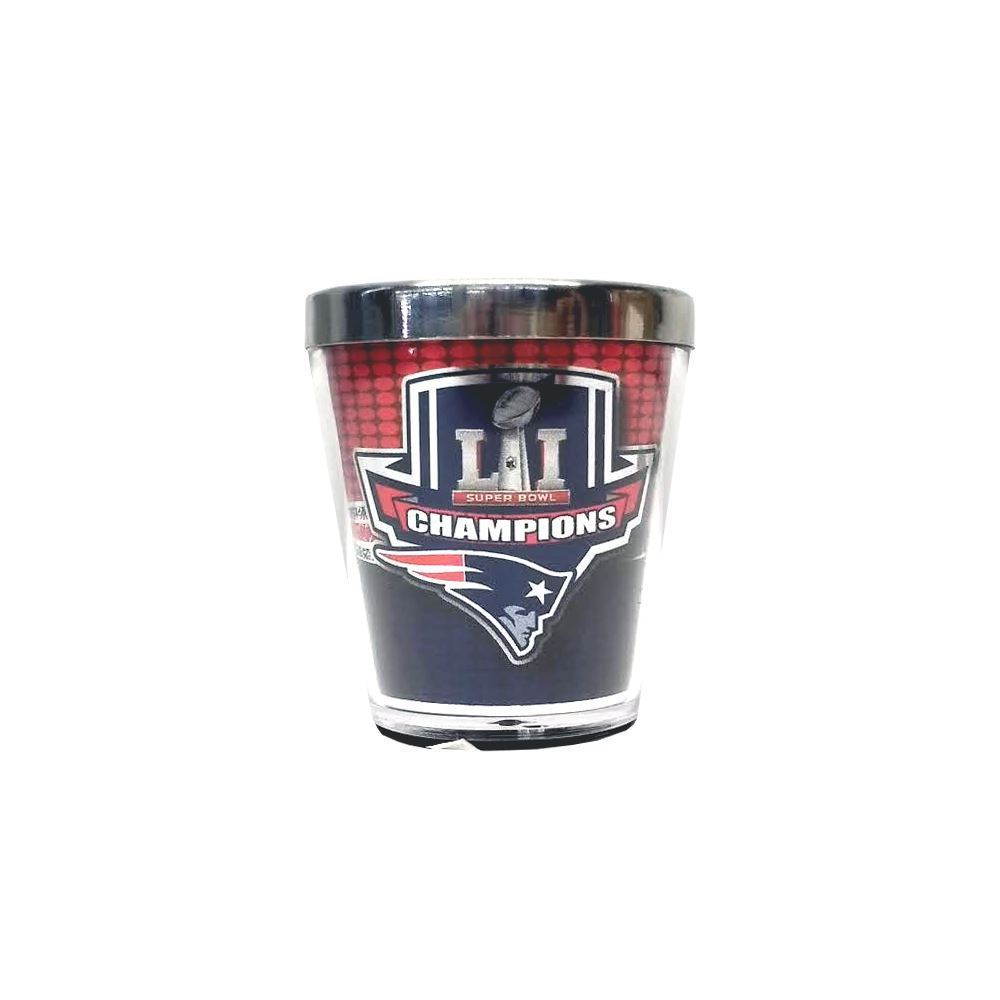 Great American Products NFL New England Patriots Super Bowl LI Champions Shot Glass w/Metallic Graphics 2oz.