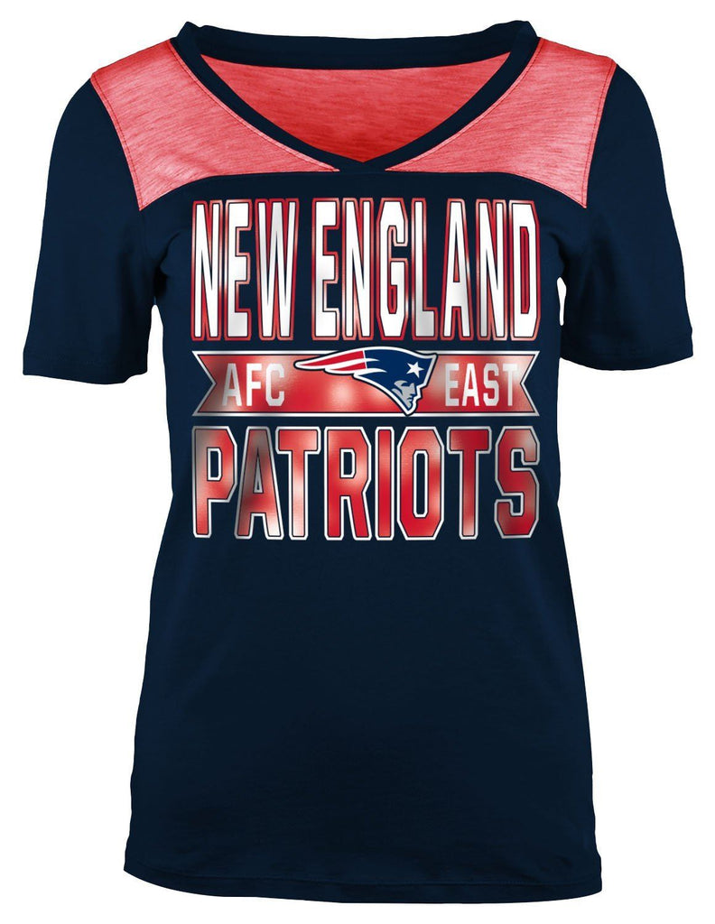 5th & Ocean NFL Women's New England Patriots Athletic Foil V-Neck