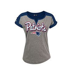 5th & Ocean NFL Women's New England Patriots Slub V-Notch Scoop T-Shirt