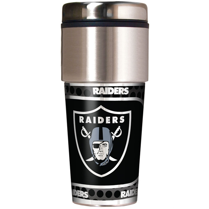 Great American Products NFL Oakland Raiders Stainless Steel Travel Tumbler with Metallic Graphics 16 oz