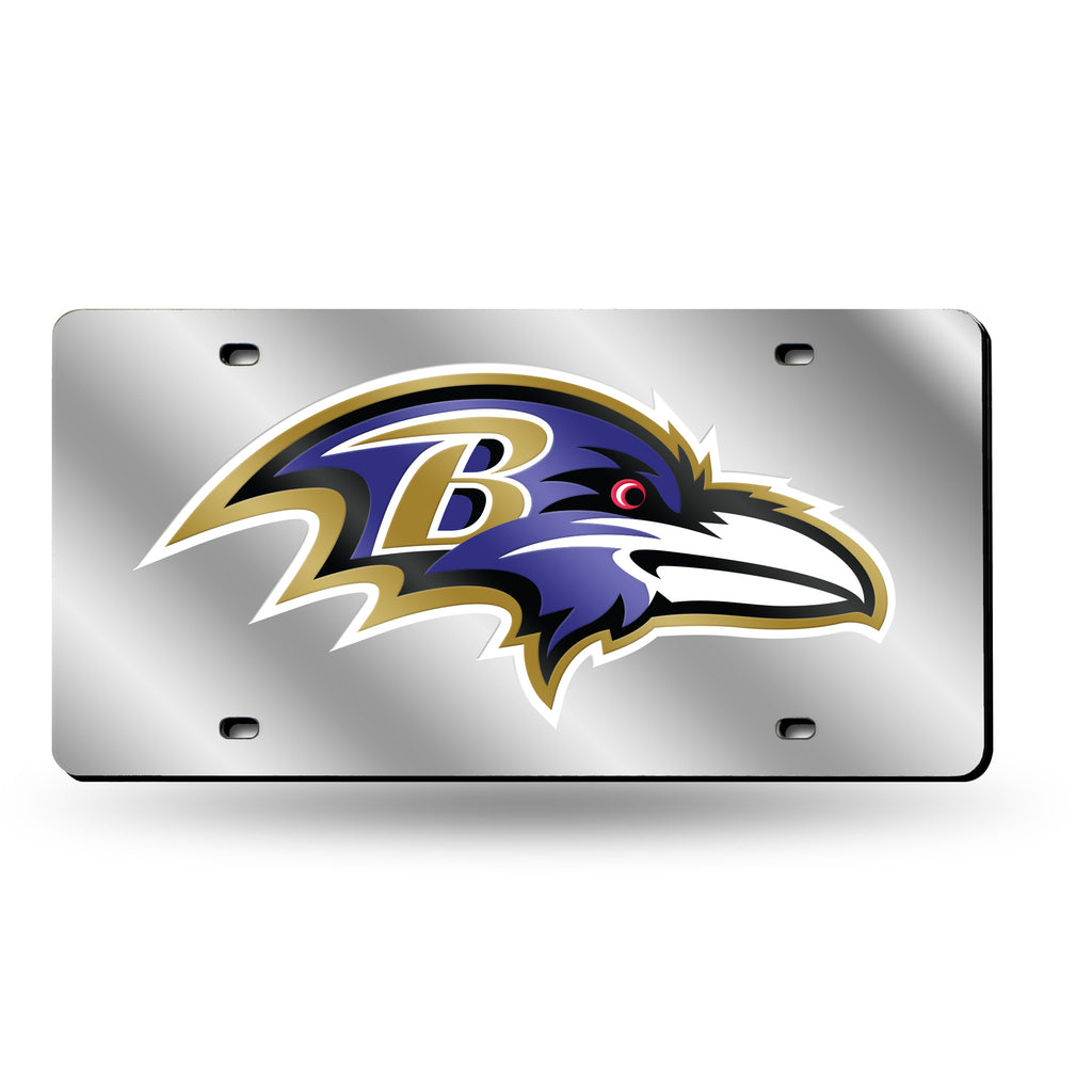 Rico NFL New Baltimore Ravens Laser Cut Mirror Auto Tag Car License Plate LZS