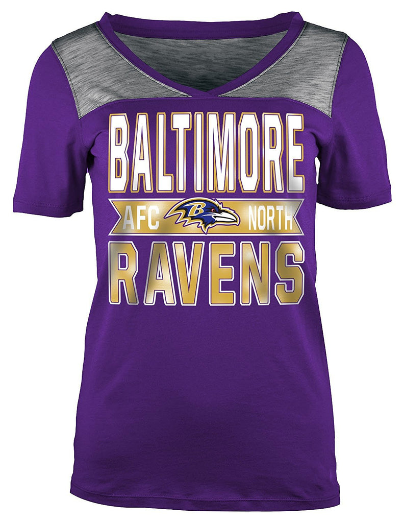 5th & Ocean NFL Women's Baltimore Ravens Athletic Foil V-Neck